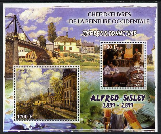 Ivory Coast 2013 Art Masterpieces from the Western World - Impressionism - Alfred Sisley perf sheetlet containing 2 values unmounted mint, stamps on arts, stamps on impressionism, stamps on sisley, stamps on bridges