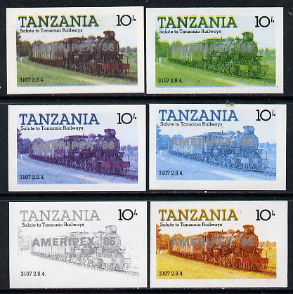 Tanzania 1986 Locomotive 3107 10s value (SG 431) unmounted mint imperf set of 6 progressive colour proofs each with 'Ameripex '86' opt in silver*