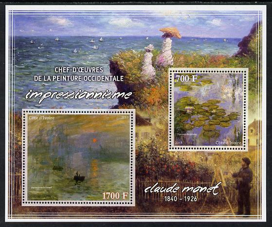 Ivory Coast 2013 Art Masterpieces from the Western World - Impressionism - Claude Monet perf sheetlet containing 2 values unmounted mint