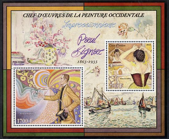 Ivory Coast 2013 Art Masterpieces from the Western World - Impressionism - Paul Signac perf sheetlet containing 2 values unmounted mint