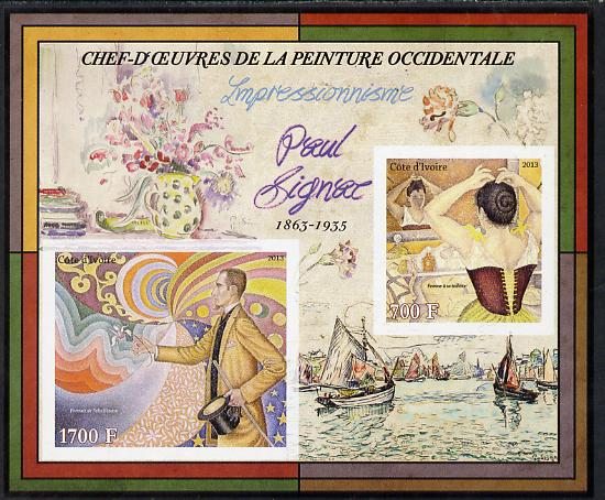 Ivory Coast 2013 Art Masterpieces from the Western World - Impressionism - Paul Signac imperf sheetlet containing 2 values unmounted mint