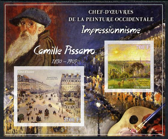 Ivory Coast 2013 Art Masterpieces from the Western World - Impressionism - Camille Pissarro imperf sheetlet containing 2 values unmounted mint