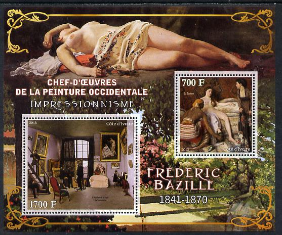 Ivory Coast 2013 Art Masterpieces from the Western World - Impressionism - Frederic Bazille perf sheetlet containing 2 values unmounted mint
