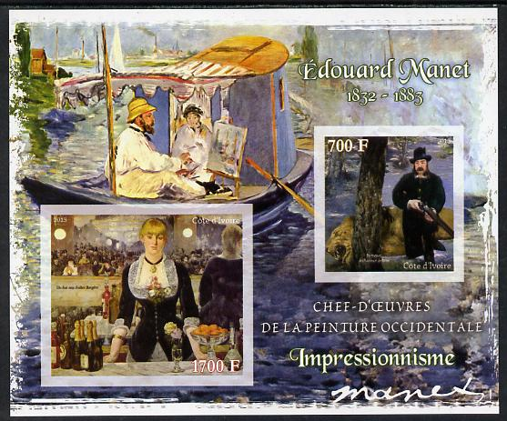 Ivory Coast 2013 Art Masterpieces from the Western World - Impressionism - Edouard Manet imperf sheetlet containing 2 values unmounted mint