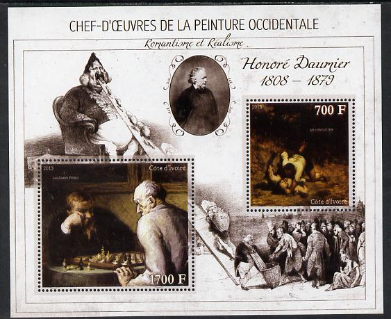 Ivory Coast 2013 Art Masterpieces from the Western World - Romanticism & Realism - Honore Daumier perf sheetlet containing 2 values unmounted mint