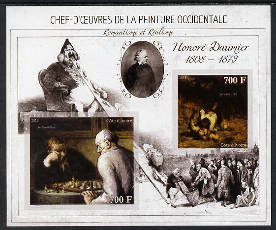 Ivory Coast 2013 Art Masterpieces from the Western World - Romanticism & Realism - Honore Daumier imperf sheetlet containing 2 values unmounted mint