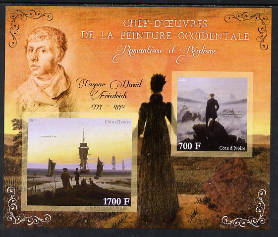Ivory Coast 2013 Art Masterpieces from the Western World - Romanticism & Realism - Caspar David Friedrich imperf sheetlet containing 2 values unmounted mint