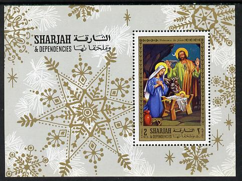 Sharjah 1970 Life of Christ #1 perf m/sheet (Nativity) unmounted mint Mi BL 77A