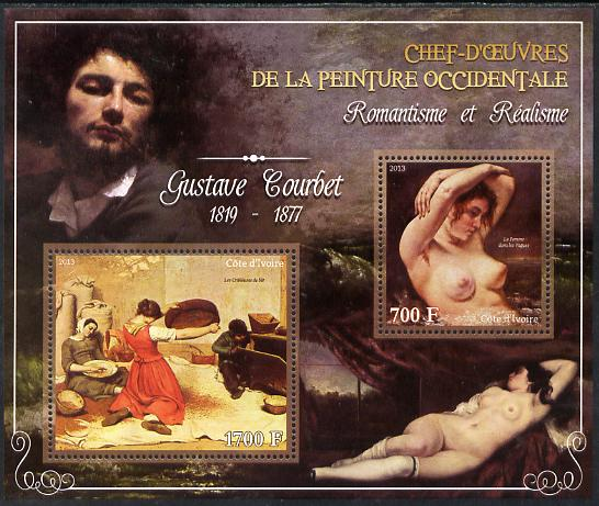 Ivory Coast 2013 Art Masterpieces from the Western World - Romanticism & Realism - Gustave Courbet perf sheetlet containing 2 values unmounted mint