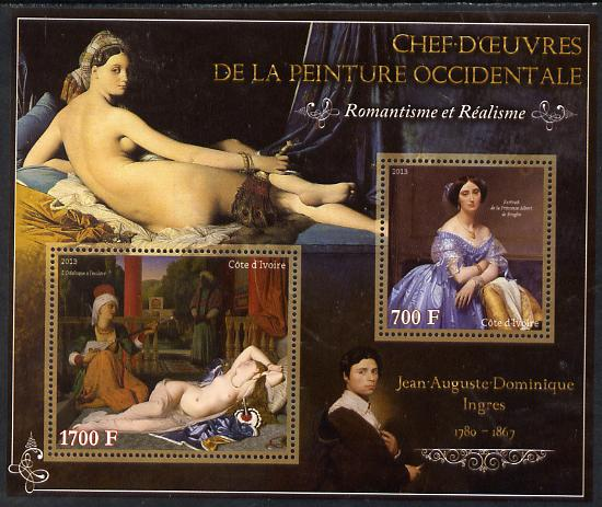 Ivory Coast 2013 Art Masterpieces from the Western World - Romanticism & Realism - Jean-Auguste Ingres perf sheetlet containing 2 values unmounted mint