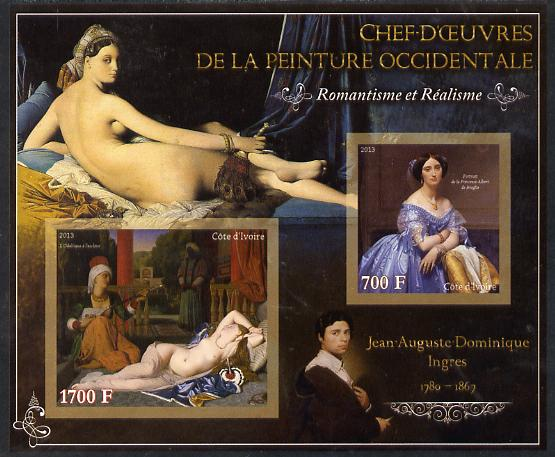 Ivory Coast 2013 Art Masterpieces from the Western World - Romanticism & Realism - Jean-Auguste Ingres imperf sheetlet containing 2 values unmounted mint