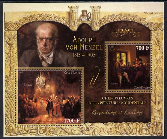 Ivory Coast 2013 Art Masterpieces from the Western World - Romanticism & Realism - Adolph Von Menzel perf sheetlet containing 2 values unmounted mint