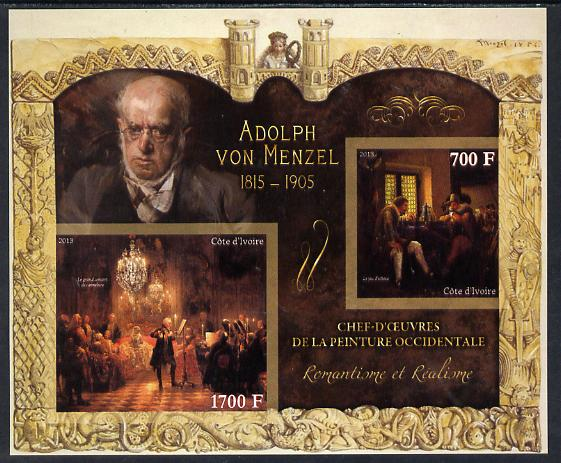 Ivory Coast 2013 Art Masterpieces from the Western World - Romanticism & Realism - Adolph Von Menzel imperf sheetlet containing 2 values unmounted mint