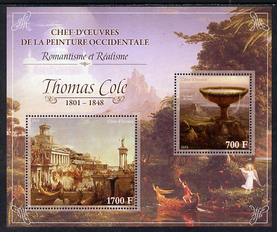 Ivory Coast 2013 Art Masterpieces from the Western World - Romanticism & Realism - Thomas Cole perf sheetlet containing 2 values unmounted mint