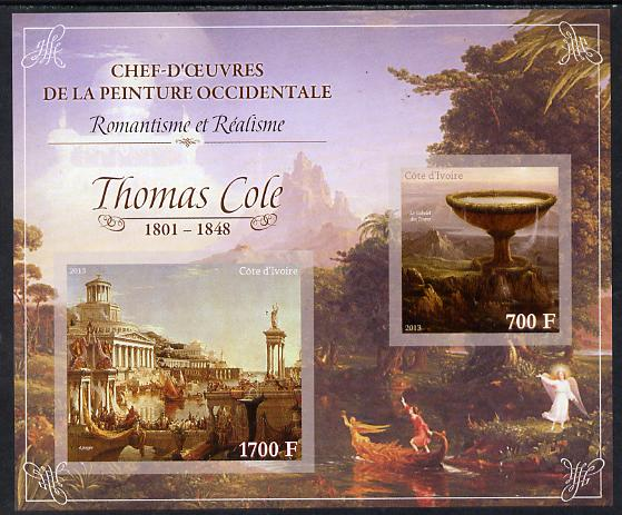 Ivory Coast 2013 Art Masterpieces from the Western World - Romanticism & Realism - Thomas Cole imperf sheetlet containing 2 values unmounted mint