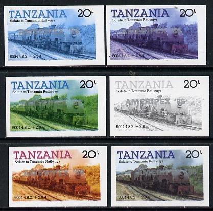 Tanzania 1986 Locomotive 6004 20s value (SG 432) unmounted mint imperf set of 6 progressive colour proofs each with 'Ameripex '86' opt in silver*