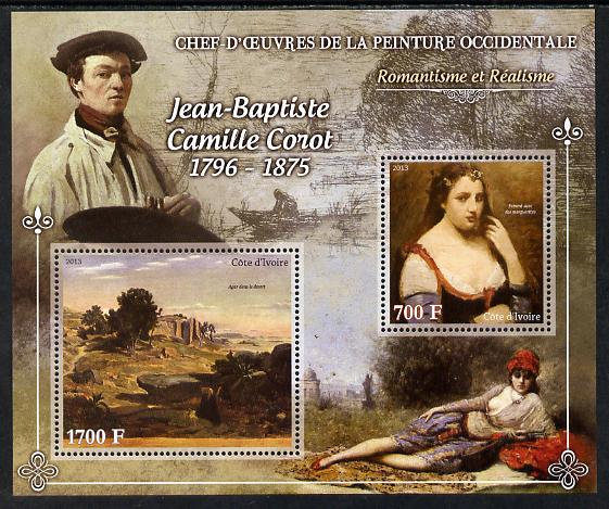 Ivory Coast 2013 Art Masterpieces from the Western World - Romanticism & Realism - Jean-Baptiste Camille Corot perf sheetlet containing 2 values unmounted mint