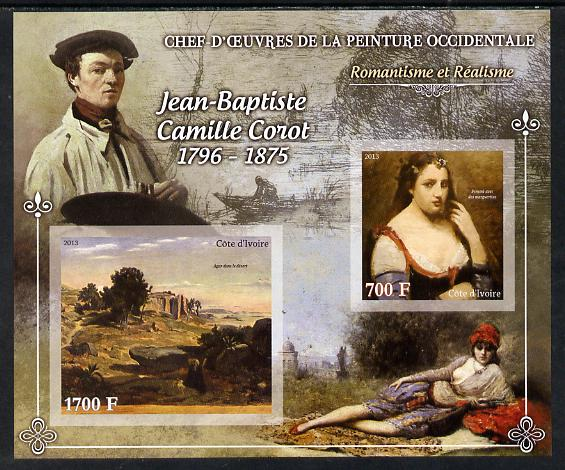 Ivory Coast 2013 Art Masterpieces from the Western World - Romanticism & Realism - Jean-Baptiste Camille Corot imperf sheetlet containing 2 values unmounted mint