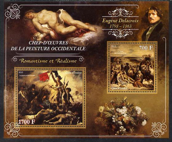 Ivory Coast 2013 Art Masterpieces from the Western World - Romanticism & Realism - Eugene Delacroix perf sheetlet containing 2 values unmounted mint