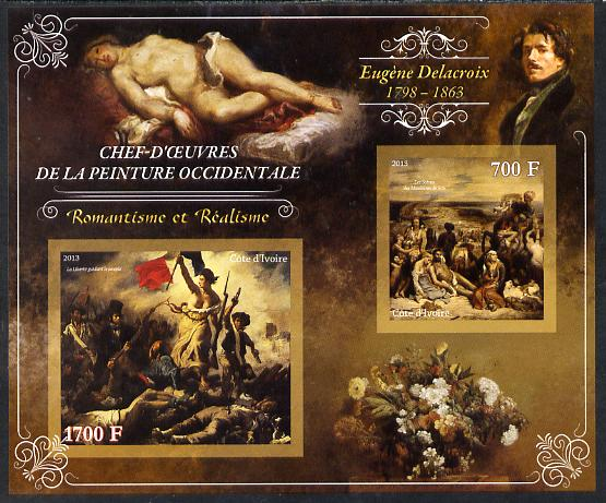 Ivory Coast 2013 Art Masterpieces from the Western World - Romanticism & Realism - Eugene Delacroix imperf sheetlet containing 2 values unmounted mint