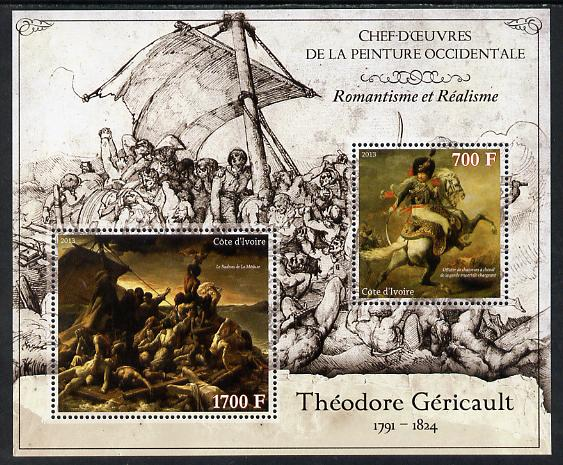 Ivory Coast 2013 Art Masterpieces from the Western World - Romanticism & Realism - Theodore Gericault perf sheetlet containing 2 values unmounted mint