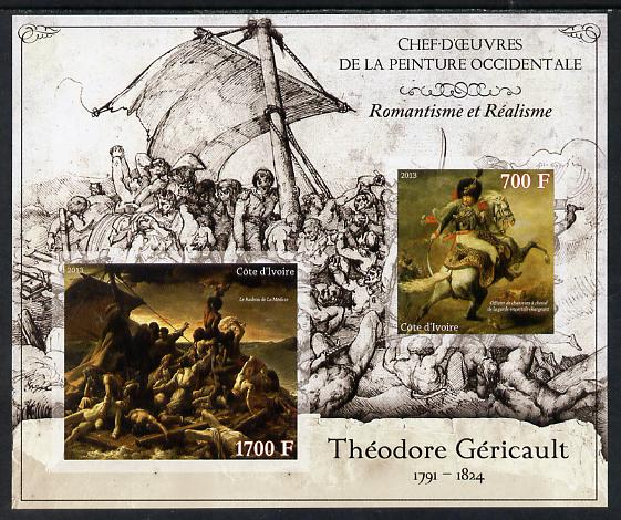Ivory Coast 2013 Art Masterpieces from the Western World - Romanticism & Realism - Theodore Gericault imperf sheetlet containing 2 values unmounted mint