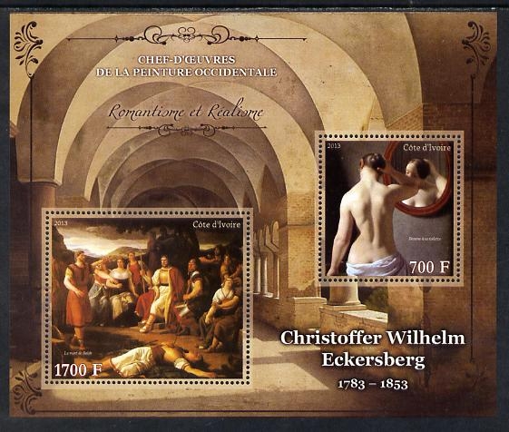 Ivory Coast 2013 Art Masterpieces from the Western World - Romanticism & Realism - Christoffer Wilhelm Eckersberg perf sheetlet containing 2 values unmounted mint