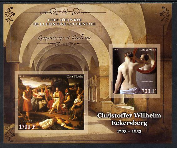 Ivory Coast 2013 Art Masterpieces from the Western World - Romanticism & Realism - Christoffer Wilhelm Eckersberg imperf sheetlet containing 2 values unmounted mint
