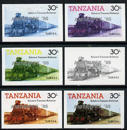 Tanzania 1986 Locomotive 3129 30s value (SG 433) unmounted mint imperf set of 6 progressive colour proofs each with 'Ameripex '86' opt in silver*