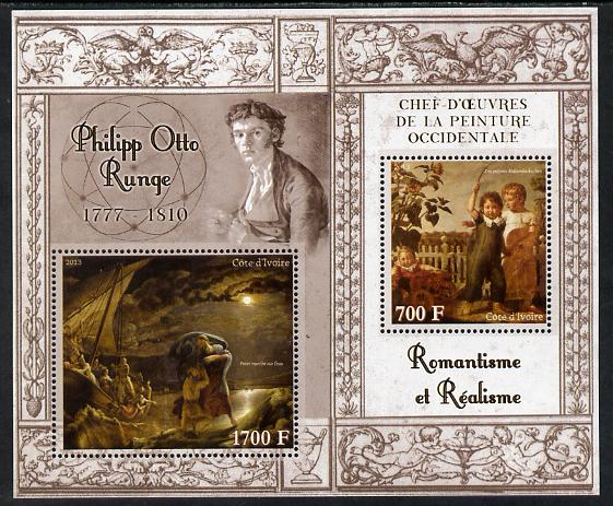 Ivory Coast 2013 Art Masterpieces from the Western World - Romanticism & Realism - Philipp Otto Runge perf sheetlet containing 2 values unmounted mint
