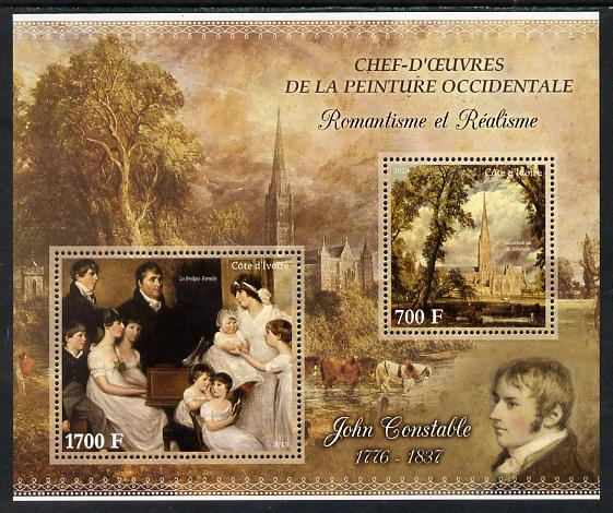 Ivory Coast 2013 Art Masterpieces from the Western World - Romanticism & Realism - John Constable perf sheetlet containing 2 values unmounted mint