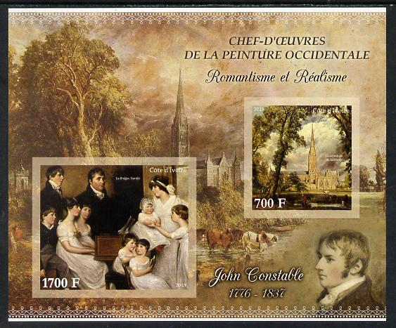 Ivory Coast 2013 Art Masterpieces from the Western World - Romanticism & Realism - John Constable imperf sheetlet containing 2 values unmounted mint