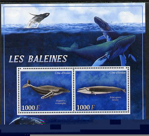 Ivory Coast 2013 Whales perf sheetlet containing 2 values unmounted mint