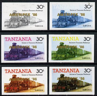 Tanzania 1986 Locomotive 3129 30s value (SG 433) unmounted mint imperf set of 6 progressive colour proofs each with 'Ameripex '86' opt in gold*