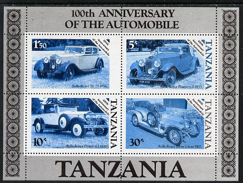 Tanzania 1986 Centenary of Motoring m/sheet unmounted mint perf colour proof in blue & black only (SG MS 460)