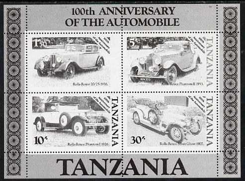 Tanzania 1986 Centenary of Motoring m/sheet unmounted mint perf colour proof in black only (SG MS 460)