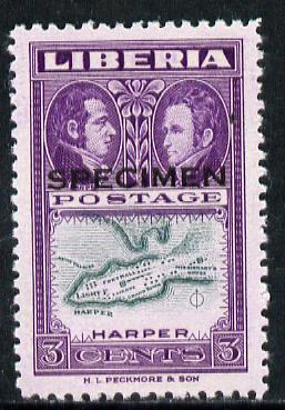 Liberia 1952 Ashmun 3c Map of Harper perf proof in issued colours opt'd Specimen unmounted mint (as SG 717)