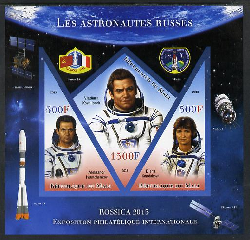 Mali 2013 Rossica Stamp Exhibition - Russian Astronauts #19 imperf sheetlet containing 3 values (2 triangulars & one diamond shaped) unmounted mint