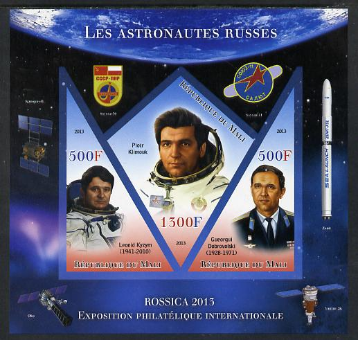 Mali 2013 Rossica Stamp Exhibition - Russian Astronauts #24 imperf sheetlet containing 3 values (2 triangulars & one diamond shaped) unmounted mint