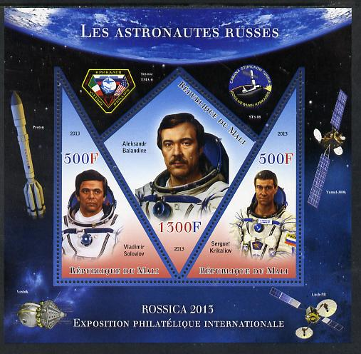 Mali 2013 Rossica Stamp Exhibition - Russian Astronauts #28 perf sheetlet containing 3 values (2 triangulars & one diamond shaped) unmounted mint