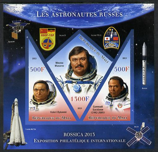 Mali 2013 Rossica Stamp Exhibition - Russian Astronauts #30 imperf sheetlet containing 3 values (2 triangulars & one diamond shaped) unmounted mint