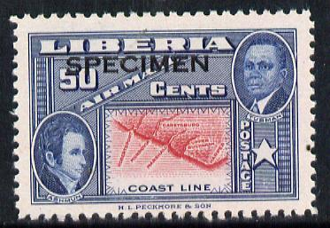 Liberia 1952 Ashmun 50c Map of Coastline perf proof in issued colours opt'd Specimen unmounted mint (as SG 722)