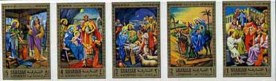 Sharjah 1970 Life of Christ #1 two imperf strips of 5 (Mi 737-46B)