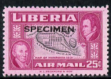 Liberia 1952 Ashmun 25c Map of Monrovia perf proof in issued colours opt'd Specimen unmounted mint (as SG 721)