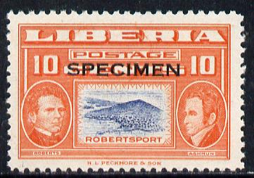 Liberia 1952 Ashmun 10c Robertsport perf proof in issued colours opt