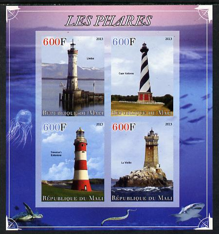 Mali 2013 Lighthouses imperf sheetlet containing 4 values unmounted mint, stamps on lighthouses