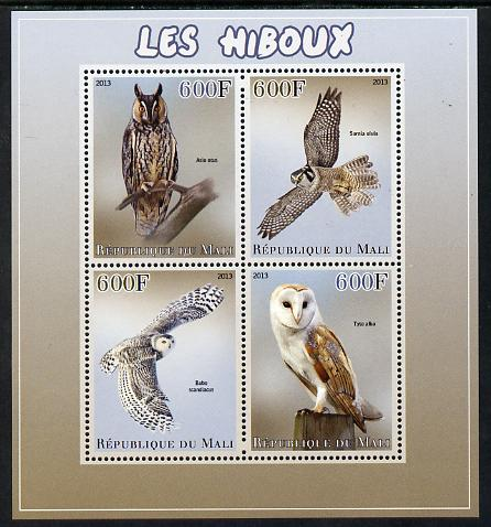 Mali 2013 Owls perf sheetlet containing 4 values unmounted mint