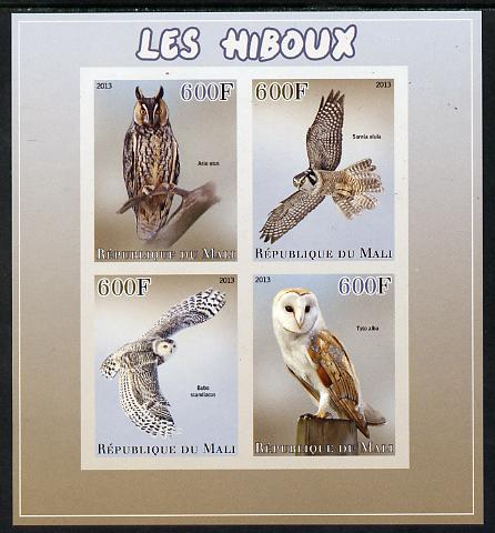 Mali 2013 Owls imperf sheetlet containing 4 values unmounted mint