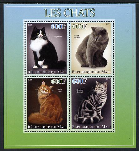 Mali 2013 Domestic Cats perf sheetlet containing 4 values unmounted mint