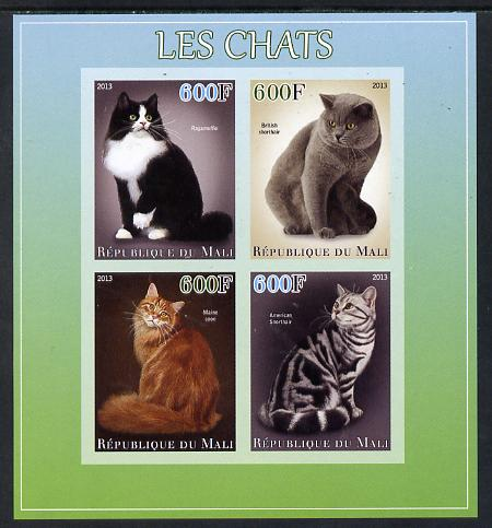 Mali 2013 Domestic Cats imperf sheetlet containing 4 values unmounted mint